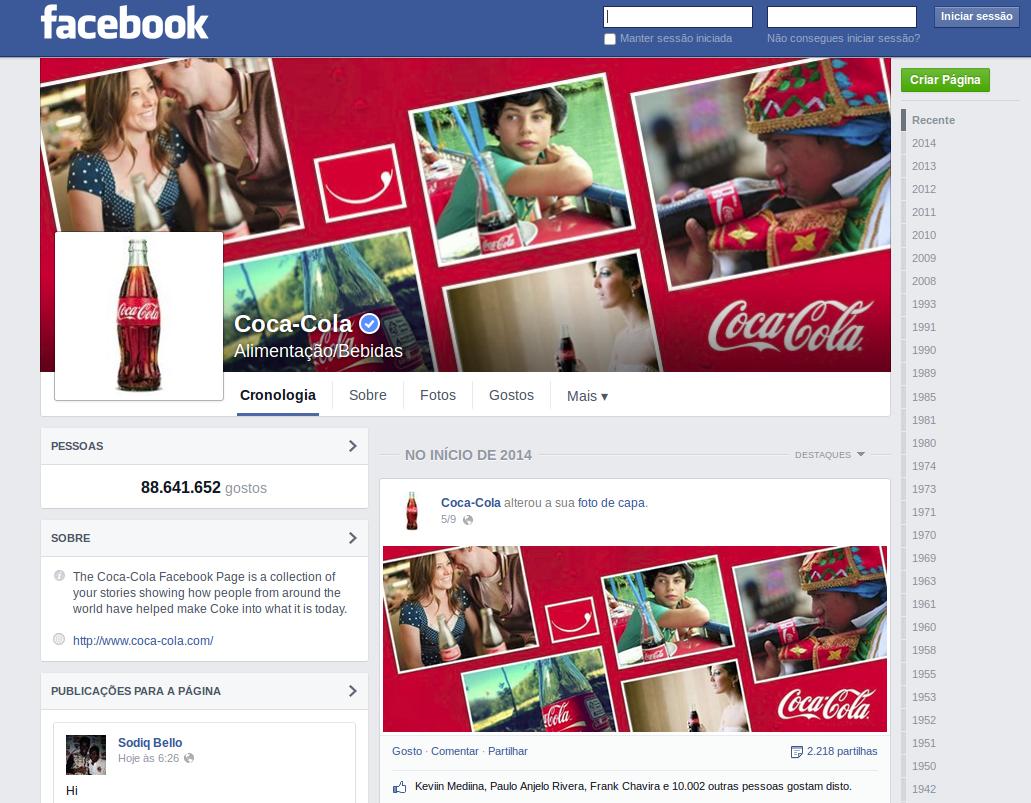 Facebook Coca-cola